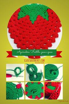 Strawberry Potholder pattern by Kay Meadors Potholder Patterns, Crochet Potholders, Crochet Doilies, Crochet Patterns, Crochet Fruit, Love Crochet, Knit Crochet, Crochet Hats, Peacock Pattern