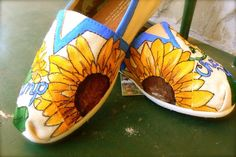 Custom hand painted TOMS sunflowers by solereflections on Etsy, $55.00