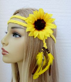 Items similar to Sunny yellow braided hippie headband sunflower clip feathers boho hair accessories on Etsy Rave Festival, Festival Wear, Festival Outfits, Rave Costumes, Halloween Costumes, Rave Gear, Hippie Headbands, Edm Outfits, Raver Girl