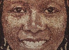 Giant Portraits Made From Thousands of Repurposed Wine Corks by Scott Gundersen