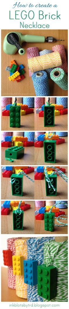 Activity option for LEGO Brick Twine Necklace Tutorial Lego Friends Birthday, Lego Friends Party, Lego Birthday Party, Boy Birthday, Lego Minecraft, Minecraft Party, Lego Craft, Crafty Craft, Lego Jewelry