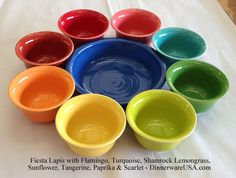 Setting up the Fiesta Lapis for a photo in the warehouse - reminded me of a paint set - bright and fun. http://DinnerwareUSA.com