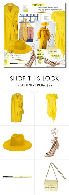 """""""It's All Yelliw"""" by lavendergal ❤ liked on Polyvore featuring Victoria Beckham, DRKSHDW, REINHARD PLANK, Aquazzura, Bobbi Brown Cosmetics, Jimmy Choo and Forever 21"""