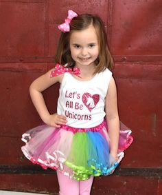 This White Unicorns Tank & Rainbow Pettiskirt - Toddler & Girls is perfect! #zulilyfinds