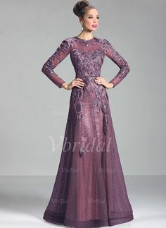 Evening Dresses - $141.00 - A-Line/Princess Scoop Neck Floor-Length Lace Evening Dress With Appliques Lace (0175056066)