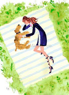 Gucci, 2016 Resort | dog: Lakeland Terrier | illustration by Masaki Ryo. Wirehaired Fox Terrier, Welsh Terrier, Airedale Terrier, Love Illustration, Watercolor Illustration, Lakeland Terrier, Crazy Dog Lady, Dog Art, Best Dogs