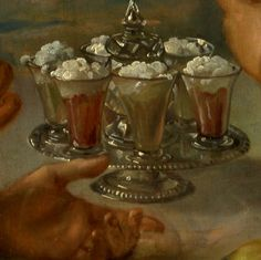 """""""One had to taste her syllabubs to know their richness"""" (Ross Poldark, 1, xiii, 3). Syllabub - a beverage made from cream and wine, whipped and served cold. In the 18th century, the froth was spooned into a sieve and allowed to drain; the resulting ethereal spume was then floated on glasses of sweetened wine or coloured whey and served on a salver (historicfood.com). Pictured: detail from """"The Sense of Taste"""" by Philip Mercier (1680-1760)."""