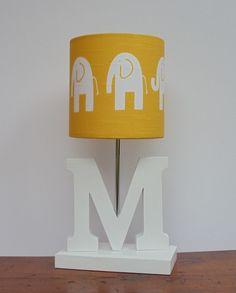 Handmade Yellow/White Elephant Drum Lamp Shade  by PerrelleDesigns, $30.00
