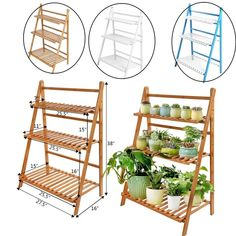 Buy Foldable Wooden Flower Plant Pot Stand Organizer Shelf Storage Rack Shelving Unit Indoor Outdoor Or Greenhouse at Wish - Shopping Made Fun Greenhouse Tables, Greenhouse Shelves, Diy Greenhouse, Indoor Flowering Plants, Mini Plants, Potted Plants, Shed Shelving, Display Shelves, Wooden Rack