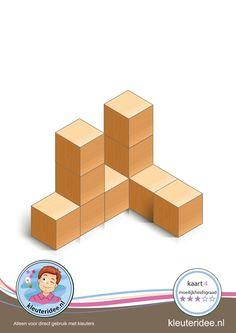 Bouwkaart 4 moeilijkheidsgraad 3 voor kleuters, kleuteridee, Preschool card building blocks with toddlers 4, difficulty 3, free printable
