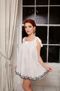Ivory chiffon French silk lace Boudemia bridal by Boudemia on Etsy