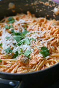 Roasted Red Pepper & Goat Cheese Alfredo #pasta #italian #recipe #dinner #entree #onedishmeal