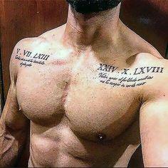 Chest Tattoo Script, Chest Piece Tattoo Mens, Chest Tattoo Stencils, Chest Tattoo Lettering, Rose Chest Tattoo, Small Chest Tattoos, Mens Shoulder Tattoo, Chest Tattoos For Guys, Small Male Tattoos