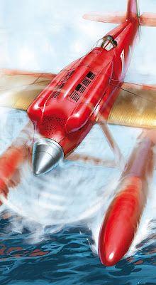 An Italian Macchi M39 Schneider Cup racer from the book Speedbirds Vol1 illustration by Romain Hugault