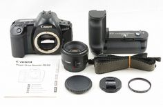 #13762 CANON EOS 1N body w/ PB-E2 booster & CANON LENS EF 50mm f1.8 II F/S to US #Canon