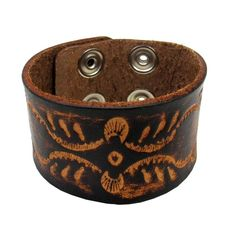 8d3bb09ea58 Brown Cuff Leather Bracelet Unisex Embossed Wristband Rock Punk Gothic NEW