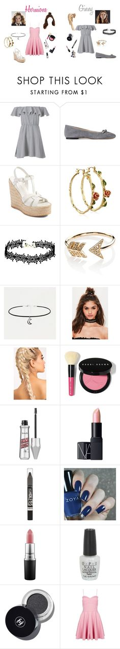 """Hermione and Ginny -visions-"" by megpegachu on Polyvore featuring Miss Selfridge, ANNA BAIGUERA, Yves Saint Laurent, Disney, EF Collection, Missguided, Bobbi Brown Cosmetics, NARS Cosmetics, Rimmel and MAC Cosmetics"