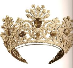 Tiara from a sapphire parure designed for the Tsarina Alexandra at the beginning by Friedrich Koechli, a Swiss jeweller in St Petersburg who became court jeweller in Intertwined scrolls in. Royal Crowns, Royal Tiaras, Tiaras And Crowns, Royal Jewelry, Fine Jewelry, Family Jewels, Circlet, Crown Jewels, Diamond Are A Girls Best Friend