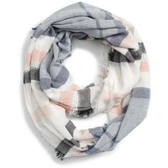 Women's Bp. Stripe Infinity Scarf (1,705 INR) ❤ liked on Polyvore featuring accessories, scarves, white multi, print infinity scarf, striped scarves, infinity scarves, tube scarf and circle scarves