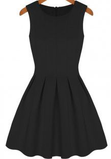 Black Round Neck Sleeveless Pleated Flare A Line Dress