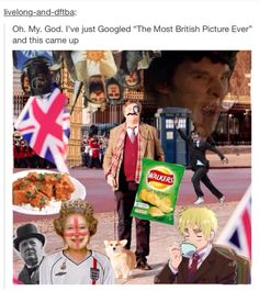 This is so accurate and so British it makes me cry... and I'm happy they included not only the TARDIS and Sherlock, but Monty Python as well!