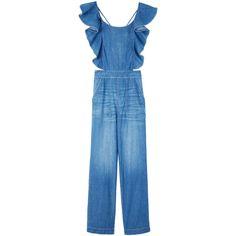 La Vie Drapey Denim Jumpsuit ($350) ❤ liked on Polyvore featuring jumpsuits, denim jumpsuit, wide leg jumpsuits, blue jump suit, ruffled jumpsuits and blue jumpsuits