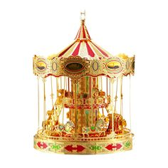 Piececool P082    3D Metal Puzzle Merry-go-round Model DIY Laser Cut Toys Gold  #Piececool