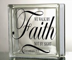 we walk by faith not by sight glass block decal tile mirrors diy decal for glass - Christmas Decals For Glass