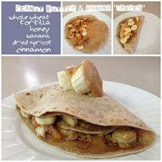"Healthy Peanut butter & banana ""crepe"" with honey, cinnamon, an..."