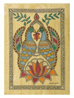 A Pair Of Peacock with Lotus (Madhubani Artwork on Handmade Paper)