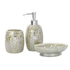 silver crackle bathroom accessories.  Strong Class Js Codeception Manufacturer House Additions Mosaic Bathroom Accessory Set Silver Crackle Mirror Glass Sparkle Glitter Bin New Next