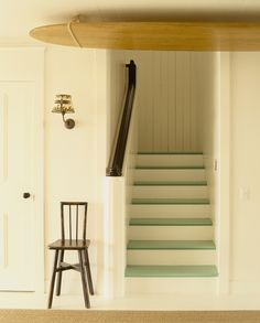 Painted Floors Photos - Painted Wood Floor Designs Photos - ELLE DECOR, gives good color options and we could do the stairs as well! Painted Wood Floors, Painted Stairs, Laminate Flooring, Home Interior, Interior And Exterior, Interior Architecture, Interior Ideas, Elle Decor, Interiores Design