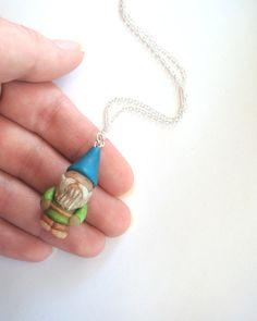 Garden Gnome Necklace  Blue and Green Polymer Clay by JustClayin, $22.00  - fimo sculpey polymer clay