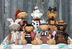 Seasonal Bear PATTERN - Happy Holiday Teddy Bears HHF353