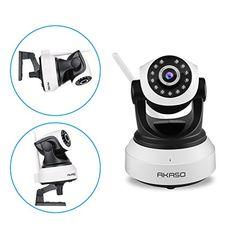 AKASO IP Security Wifi Camera 1080P Wireless Video Surveillance Monitor Home Indoor Webcam, 1920 ×1080, Pan/Tilt, Night Vision, Two Way Audio, SD Card Slot ( IP2M-903 )