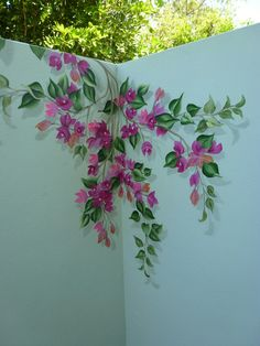 Perfect eyecatching DIY artistic decoration ideas for outdoor areas - Bugambilias para mamá - Art Mural, Mural Painting, Wall Murals, Fence Painting, House Painting, Paintings, Mural Floral, Flower Mural, Outdoor Areas