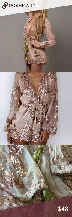 🔥RESTOCKED Goddess Romper mesh sequined This romper has been restocked due to popular demand. It's absolutely stunning with copper colored sequins on mesh material. Romper is lined, has an elastic waist, elastic wrists, with a gold tassled rope tie. Deep plunging neckline to accentuate your curves. Price is firm unless bundled. Thank you for stopping by. TTS Other