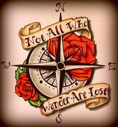 Red Roses With Compass Tattoo Design