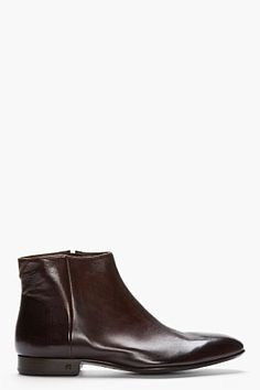 Ps Paul Smith Brown Leather Dip Dyed Fury Boots for men | SSENSE