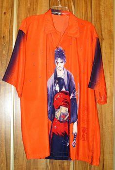 Men's Samurai Anime Orange Hawaiian Shirt Size Small Samurai & Geisha Polyester