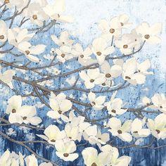 Framed Dogwood Blossoms II Indigo Print