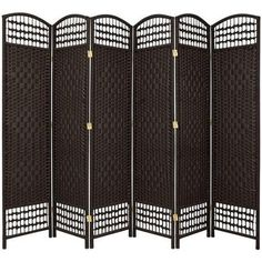 Oriental Furniture 67'' Tall Fiber Weave 6 Panel Room Divider