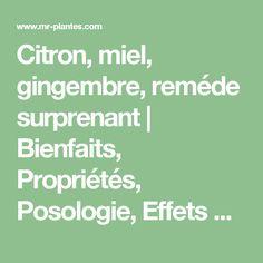 Citron, miel, gingembre, reméde surprenant   Bienfaits, Propriétés, Posologie, Effets Secondaires