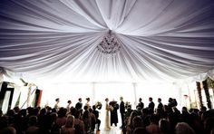 The perfect wedding draping and chandelier. Wedding Draping, Wedding Reception, Wedding Venues, Tent Wedding, Wedding Rentals, Wedding Pics, Wedding Trends, Dream Wedding, Wedding Ideas