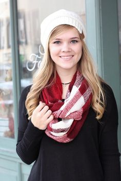 Super soft and warm infinity scarf with a wide plaid print.