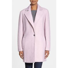 Calvin Klein Bloucle Walking Coat (€205) ❤ liked on Polyvore featuring outerwear, coats, pale pink, long sleeve coat, calvin klein coats, pink coat, pastel coat and pastel pink coat