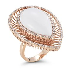 Alexis Robin White Agate and Diamond Ring in 14k Rose Gold