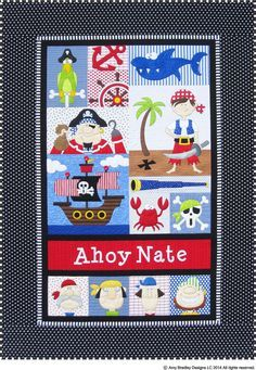 Ahoy pirate quilt for a little boy or girl -Amy Bradley