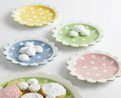 Tea Party Polka Dot Dessert Plate, by DII. The Tea Party Collections features a sweet palette of pale pink, mint green, butter yellow, and white, with hand-painted polka dots. This is for the Dessert Plate, which features a ruffled edge, and is available in four different colors. Sold individually - Choose from the yellow, green, pink, or blue plate. Measur...