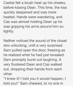 "Destiel: Closets and Cuddles"" 17/23 // Written by The Tardis-Impala"